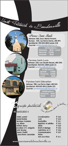 Semainier Unité Pastorale de Boucherville
